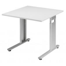 """Bureau """"Lissabon"""" 800 x 800 x 680 - 800 mm (LxBxH) Zilver/Lichtgrijs"""