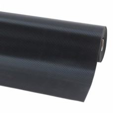 Notrax® Rib'nRoll, 3 mm dik, smalle groeven, op rol, zwart, 1000 mm x 10 m
