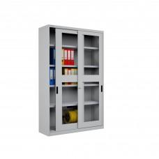 Famepla Schuifdeurkast, 1200 x 450 x 2000 mm (b x d x h), deuren met vensters